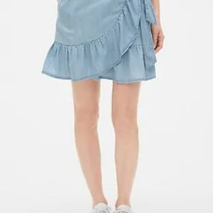Gap Chambray Ruffle Wrap Skirt